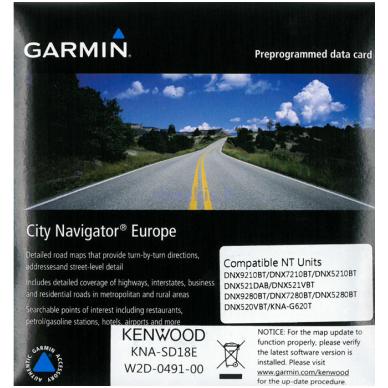 Suprogramuota microSD kortelė su 2016 žemėlapių atnaujinimu Kenwood KNA-SD18E