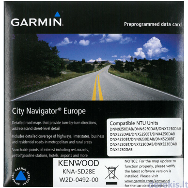 Suprogramuota microSD kortelė su 2016 žemėlapių atnaujinimu Kenwood KNA-SD28E