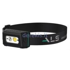 Šviestuvas - prožektorius tvirtinamas ant galvos ALS 20-200lm LED, įkraunamas, 2 skirtingi režimai, judesio jutiklis