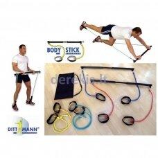 Treniruočių lazda Body-stick (komplekte 4 gumų poros)