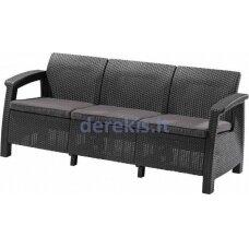 Trivietė sofa Keter CORFU LOVE SEAT MAX 223211 grafitinė