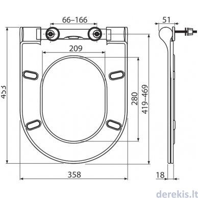 Unitazo dangtis - sėdynė Ravak Uni Chrome Slim, X01550 5