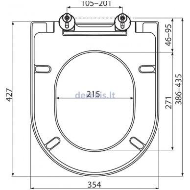 Unitazo dangtis - sedynė Ravak Uni Chrome, X01549 5