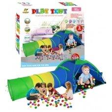 Vaikiška žaidimų palapinė su tuneliu + 100 kamuoliukų