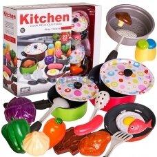 Vaikiškas virtuvės rinkinys su produktais 22 vnt