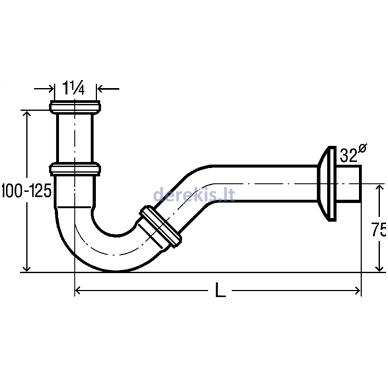 Vamzdelinis sifonas bide be ventilio Viega 103781 2