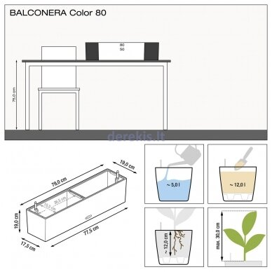 Vazonas su savaiminio drėkinimo sistema LECHUZA Balconera Color 80 Slate, 15683 12