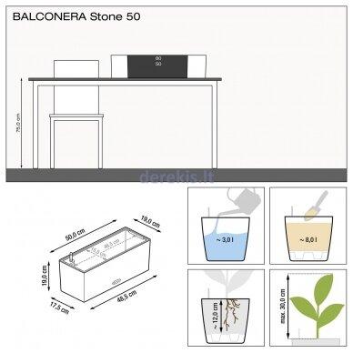 Vazonas su savaiminio drėkinimo sistema LECHUZA Balconera Stone 50 Gray, 15650 7