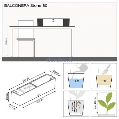 Vazonas su savaiminio drėkinimo sistema LECHUZA Balconera Stone 80 Graphite Black, 15662 6