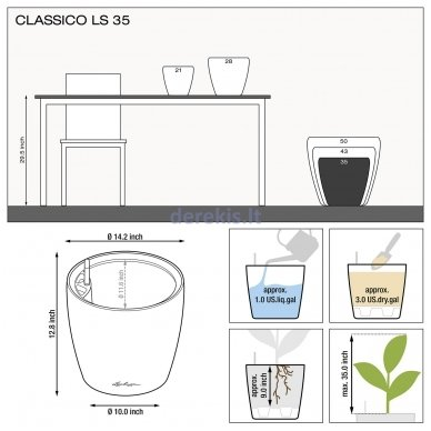 Vazonas su savaiminio drėkinimo sistema LECHUZA Classico Premium 43 Espresso, 16081 7