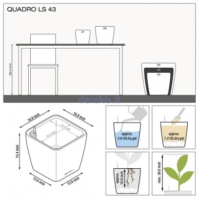 Vazonas su savaiminio drėkinimo sistema LECHUZA Quadro Premium 43 Charcoal, 16183 7