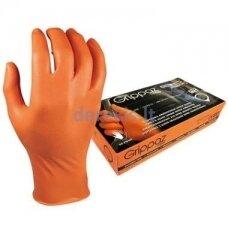 Vienkartinės nitrilinės pirštinės M-Safe Grippaz 246OR, 50 vnt dėžėje, 0,15mm storis, oranžinės, 10/XL