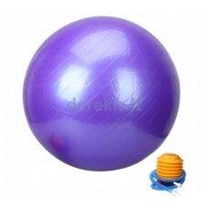 Violetinis gimnastikos kamuolys su pompa, 75 cm.