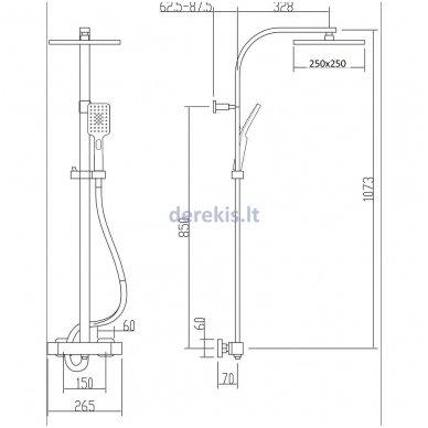 Virštinkinė dušo sistema Sapho Latus II termostatinė 2