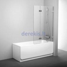 Vonios sienelė Ravak BVS2 100 R chromas+stiklas Transparent 7UPA0A00Z1 + montavimo rinkinys D01000A071 + laikiklis B19000000A