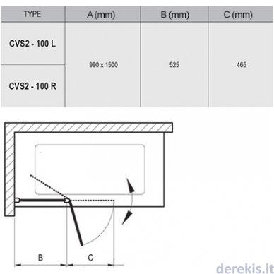 Vonios sienelė Ravak CVS2-100 R balta+stiklas Transparent, 7QRA0100Z1 4