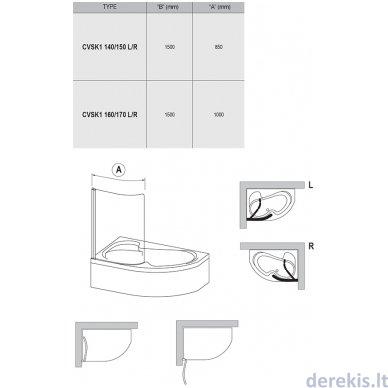 Vonios sienelė Ravak CVSK1 Rosa 160/170 L satinas+stiklas Transparent, 7QLS0U00Y1 2
