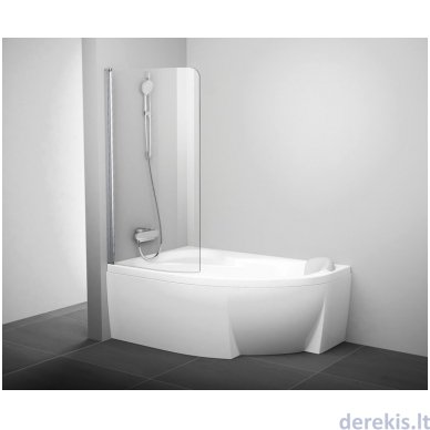 Vonios sienelė Ravak CVSK1 Rosa 160/170 L satinas+stiklas Transparent, 7QLS0U00Y1