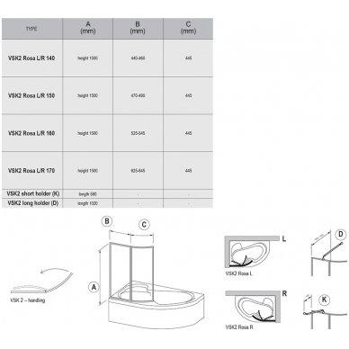 Vonios sienelė Ravak VSK2 Rosa 140 L balta+plastikas Rain, 76L7010041 2