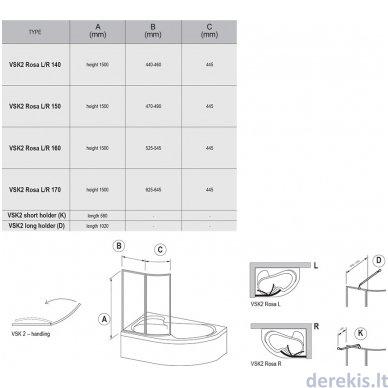 Vonios sienelė Ravak VSK2 Rosa 150 R balta+plastikas Rain, 76P8010041 2