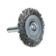 Wheel brush for drill, crimped steel wire 0,35mm, Ø75mm, shank 6mm