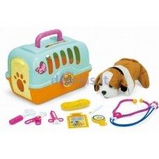 Žaislinis šunų narvas su veterinariniais įrankiais