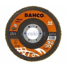 Žiedlapinis metalo ir nerūdijančio plieno šlifavimo diskas Bahco INOX+Fe T42 P80 125x22.23mm