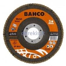 Žiedlapinis metalo ir nerūdijančio plieno šlifavimo diskas Bahco, išgaubtas INOX+Fe P40 125x22.23mm