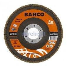 Žiedlapinis metalo ir nerūdijančio plieno šlifavimo diskas Bahco, išgaubtas INOX+Fe P60 125x22.23mm