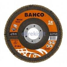 Žiedlapinis metalo ir nerūdijančio plieno šlifavimo diskas Bahco, išgaubtas INOX+Fe P80 125x22.23mm